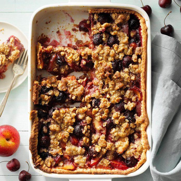Cherry Plum Slab Pie with Walnut Streusel