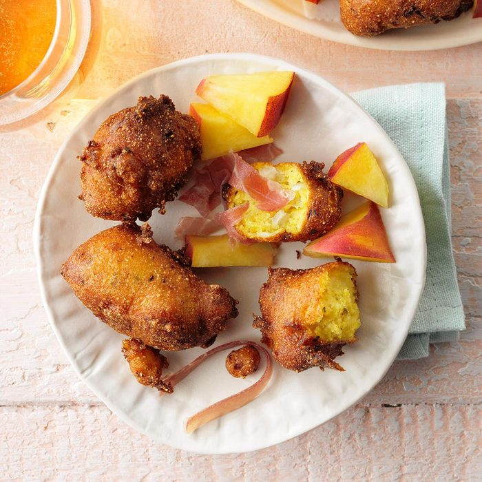Peachy-Keen Halloumi Fritters