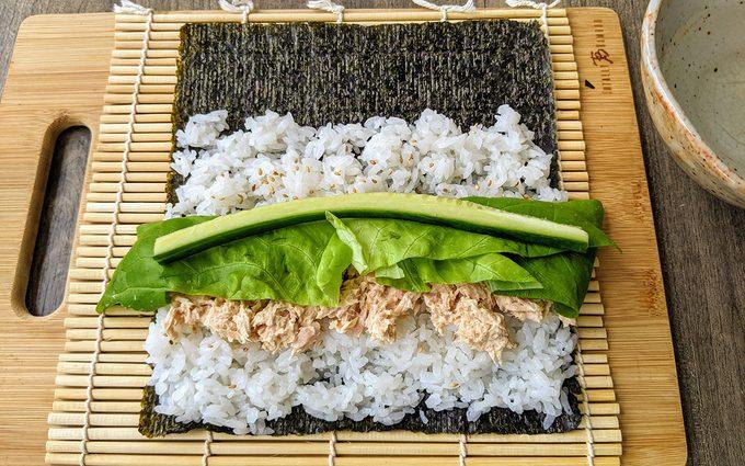 Assemble the sushi Canned tuna sushi recipe