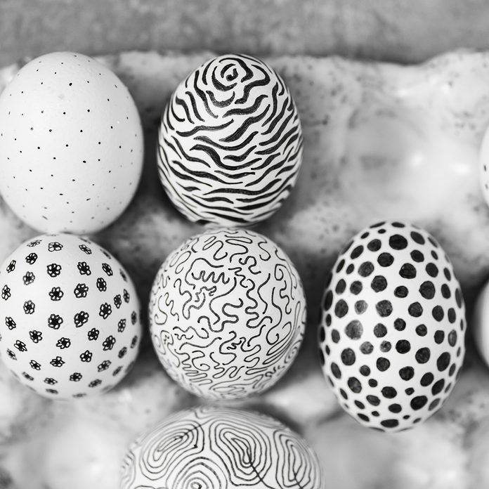 Unusual Painted In Black And White Graphic Style Chicken Eggs For Easter In Gray Ceramic Egg Holder