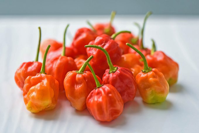 Scotch Bonnet Hot Chilli Peppers On White Background