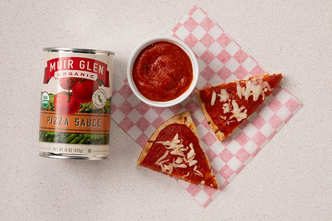 Muir Glen Pizza Sauce In Can, Sin Small Bowl And On Pizza