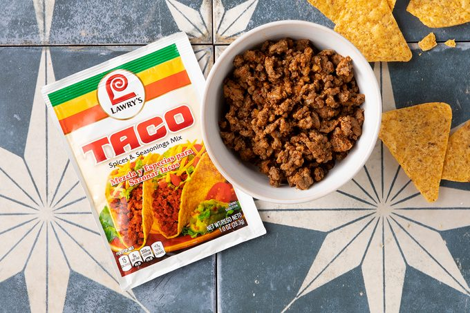 Lawry's Taco Seasoning Prepared In Bowl With Chips And Seasoning Packet