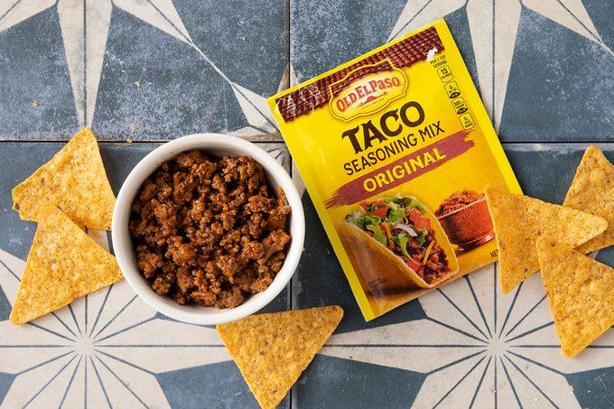 Old El Paso Taco Seasoning Prepared In Bowl With Chips And Seasoning Packet