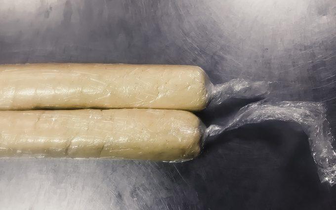 Alfajores Recipe Dough logs in plastic