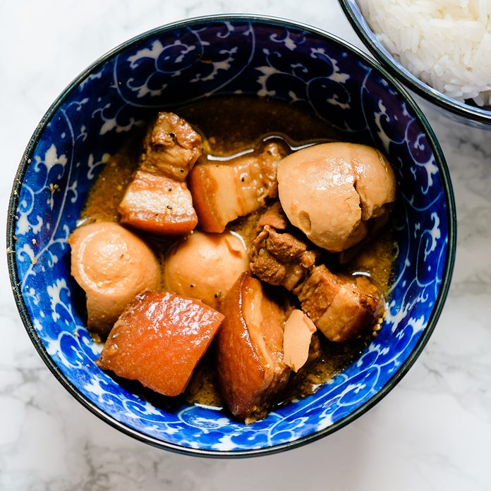 vietnamese recipes A Bowl Of Thit Kho Trung (vietnamese Caramelized Pork And Eggs Cooked With Coconut Water)