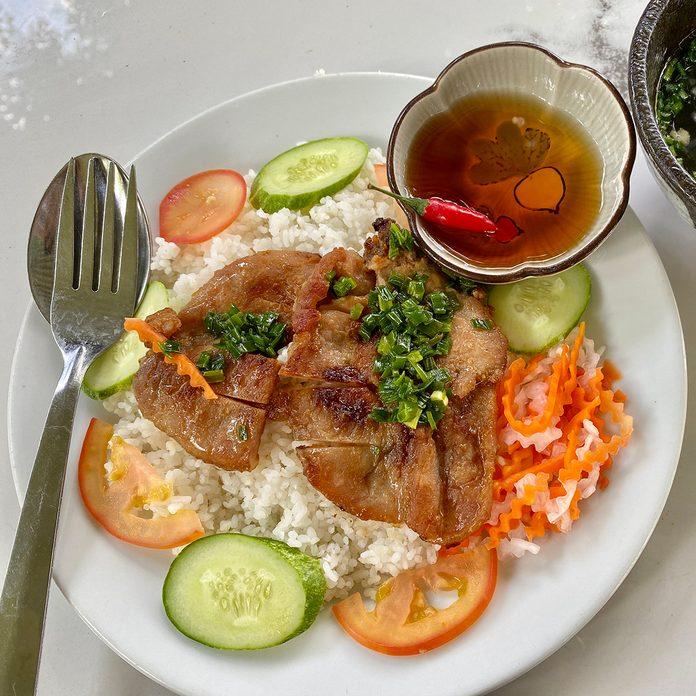 vietnamese recipes Vietnam Saigon Typical Street Food Broken Rice Com Tam With Grilled Pork Ribs And Vegetable