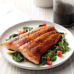 Air-Fryer Roasted Salmon with Sauteed Balsamic Spinach
