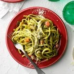 Nutty Kale Pesto Pasta with Caramelized Onion