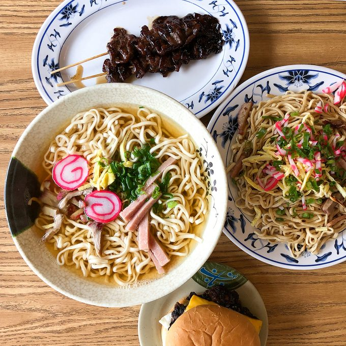 Saimin, or Hawaii's version of ramen, is topped with Spam, scallions, egg and kamaboko.