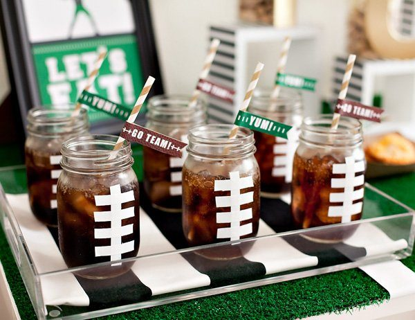 Diy Football Party Drinks And Straw Flags