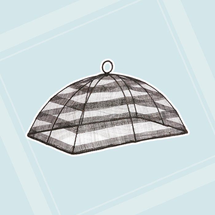 world market patio Black Stripe Mesh Food Dome
