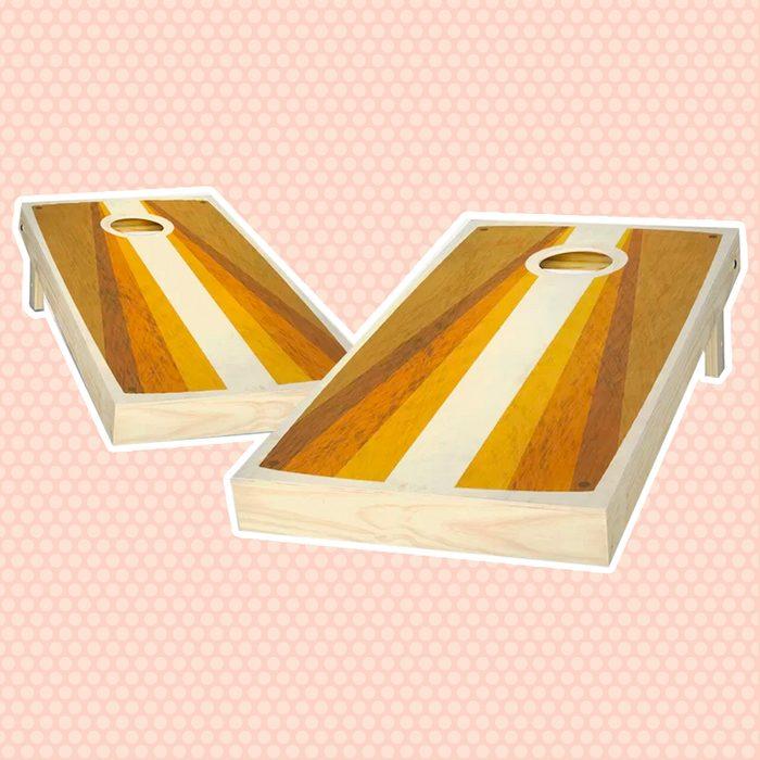 Ajj Cornhole 2 X 4 Retro Stained Poster Pyramid Solid Wood Cornhole Board