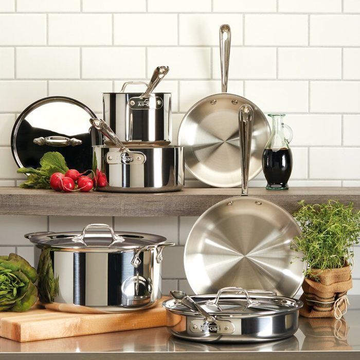 kitchen wedding gifts All Clad D3 Stainless 10 Piece Stainless Steel Cookware Set