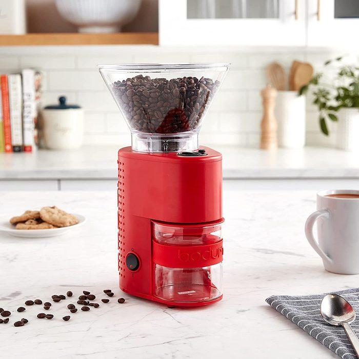 Bodum BISTRO Burr Coffee Grinder, 12-Inch, Red