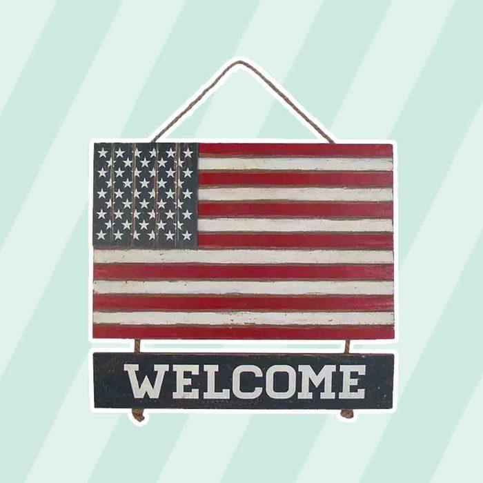 americana kitchen Celebrate Americana Together Welcome Wood Flag Wall Decor