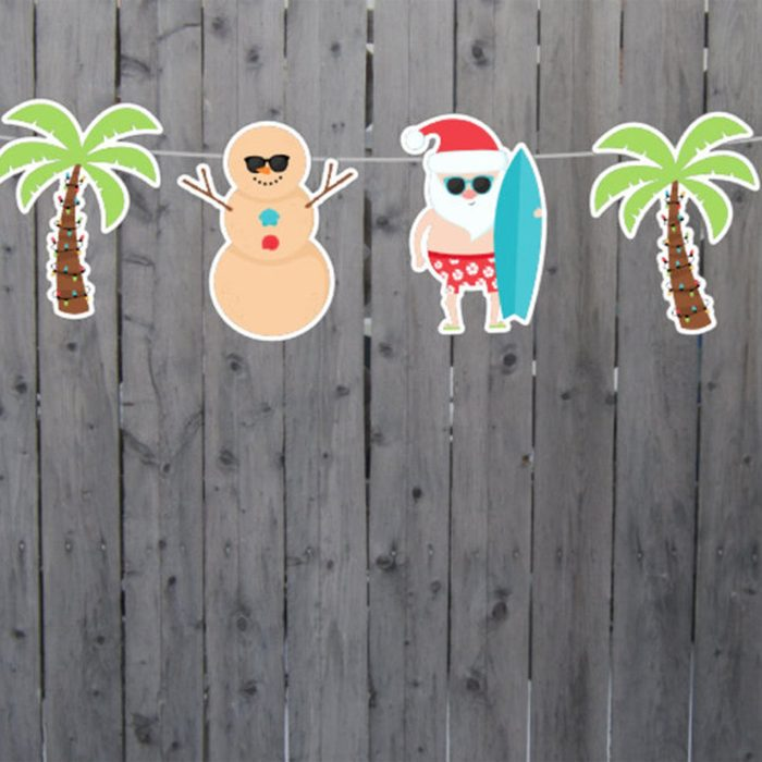 beach christmas decor Christmas In July Garland Christmas In
