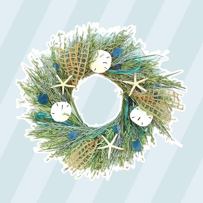 beach christmas decor Highland Dunes Seaglass 22 Dried Grasses Wreath
