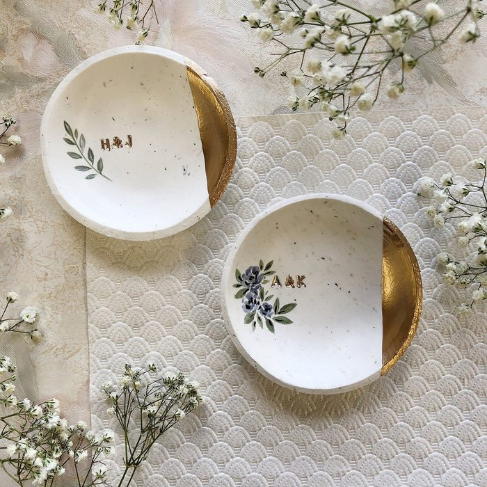 engagement party gifts Jewelry Dish Speckled Minimalist Ring