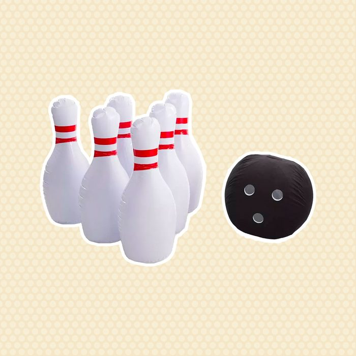 outdoor games Kids Giant Indoor Outdoor Inflatable Bowling Game With 29 H Pins And 20 Diam Ball For Kids Hearthsong