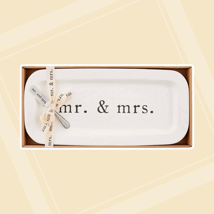 bridal shower gifts Mud Pie Wedding 2 Piece Platter Set