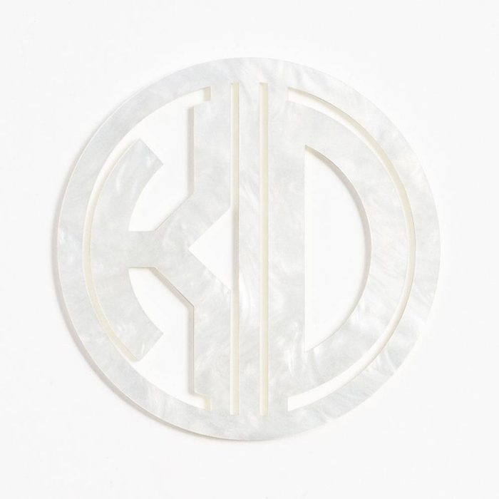 bridal shower gifts Pearl White Laser Cut Monogram Coasters