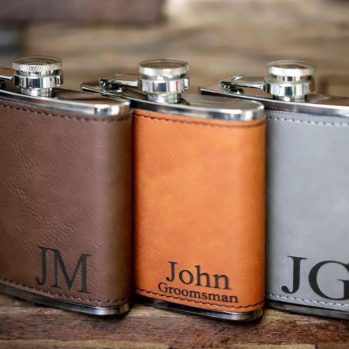 groomsmen gifts Personalized Leather Flask Groomsmen
