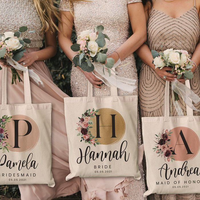 bridesmaid gifts Personalized Name Canvas Tote Bag