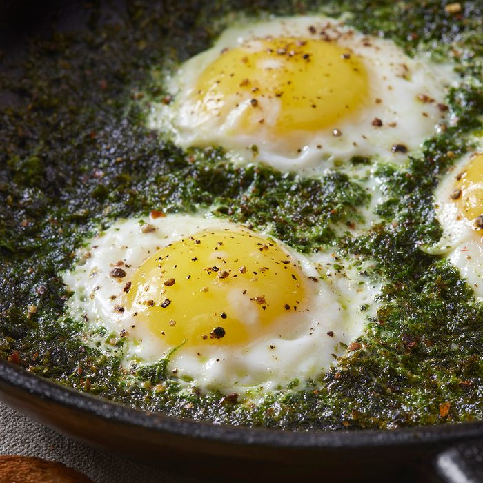 Fried Eggs in Basil Pesto with Toast