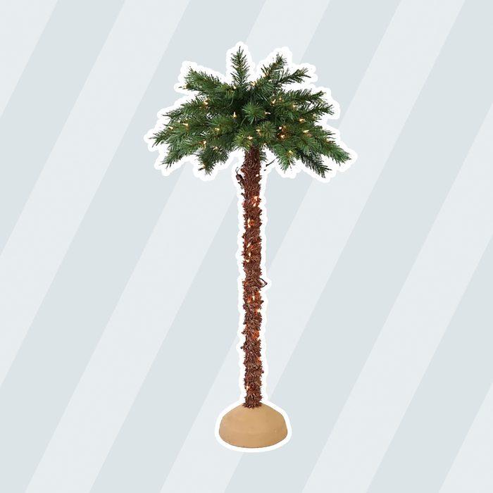 Puleo International Pre Lit Artificial Palm Tree