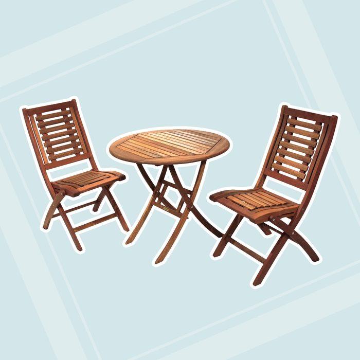 world market patio Round Wood 3 Piece Bistro Outdoor Dining Set
