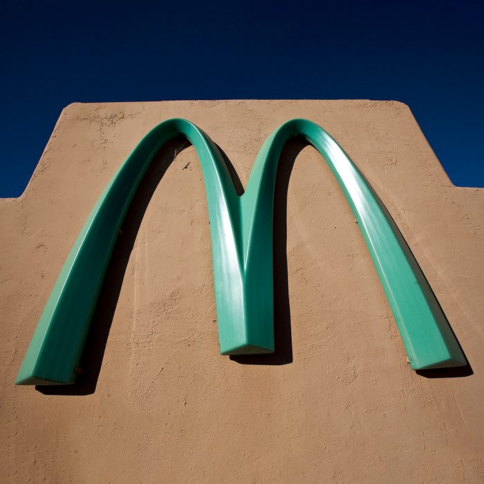 The McDonalds Restaurant in Sedona, Arizona. The city of Sedona didn't want the traditional yellow arches to clash with the natural beauty of the city, so they decided on a turquoise color for the arches. These are the only non-yellow arches in the giant restaurant chain. (Photo by Ted Soqui/Corbis via Getty Images)