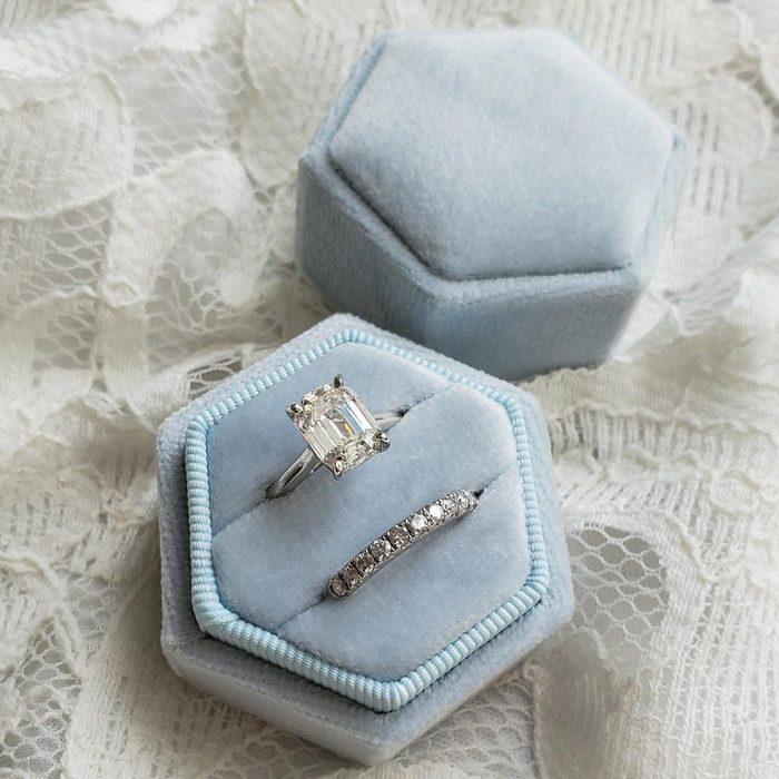 bridal shower gifts Velvet Ring Box, Baby Blue | Hexagon Double Ring Box | Wedding Ring & Engagement Ring Box, Ring Bearer Gift