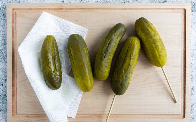 cotton candy pickles Dry and skewer the pickles