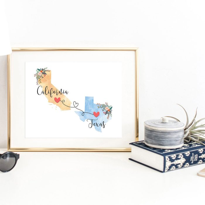 gifts for college students Custom Two State Print Going Away Gift