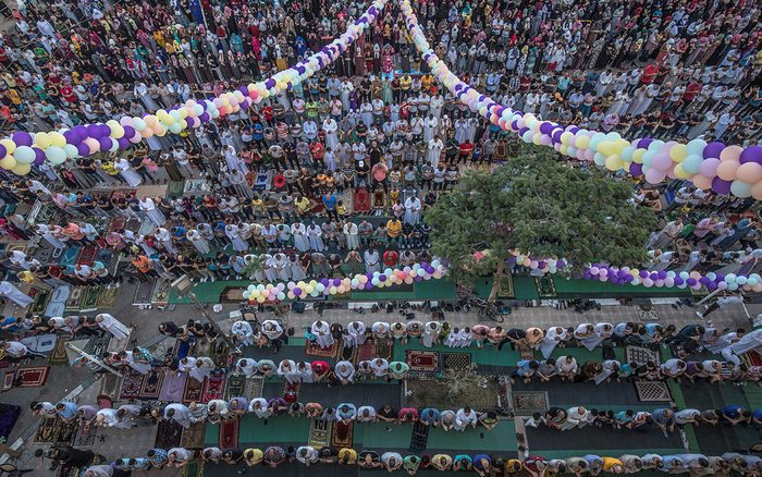 what is eid al ahda Egyptian Muslims perform the Eid Al-Adha morning prayer outside al-Sedik mosque in the northeastern suburb of Sheraton in the capital Cairo,, on August 11, 2019. - Muslims across the world are celebrating the first day of the Feast of Sacrifice, which marks the end of the hajj pilgrimage to Mecca and commemorates prophet Abraham's sacrifice of a lamb after God spared Ishmael, his son. (Photo by Khaled DESOUKI / AFP) (Photo credit should read KHALED DESOUKI/AFP via Getty Images)