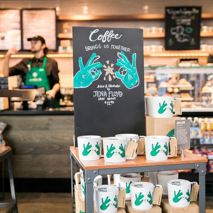 A mug display is shown on Monday, October 22, 2018 at Starbucks first U.S. Signing Store in Washington D.C. (Joshua Trujillo, Starbucks)