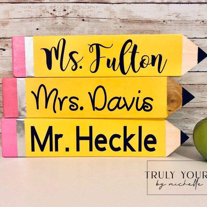 teacher gifts Teacher Pencil Name Plates Teacher Name
