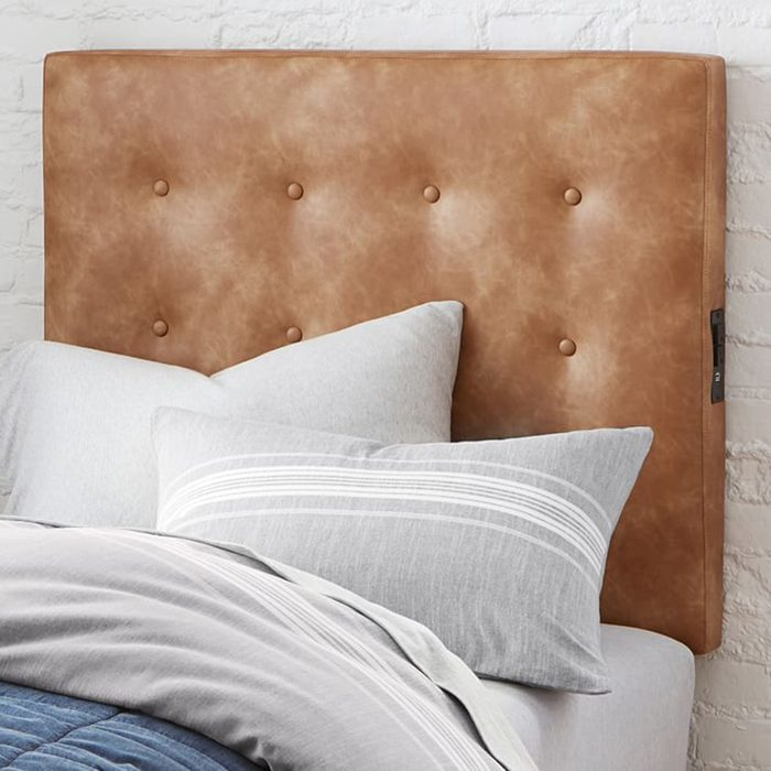 gifts for college students Vegan Leather Tufted Smart Faux Headboard