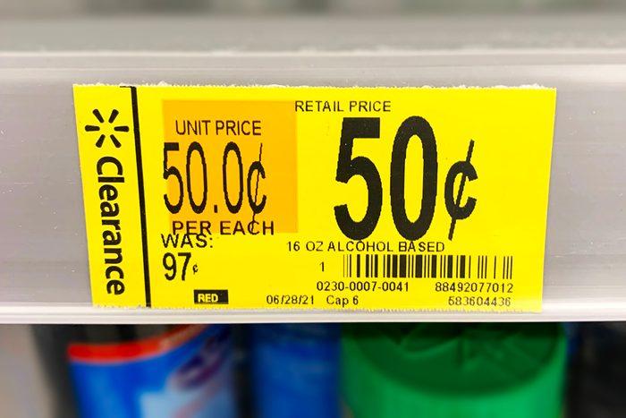 Walmart Price Tag Clearance