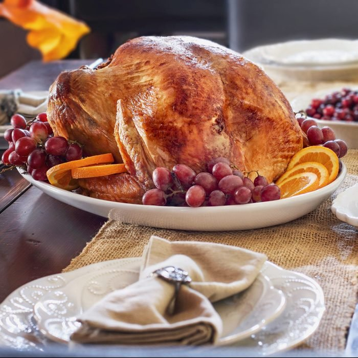 Thanksgiving Day table set with Roasted Prepared Turkey