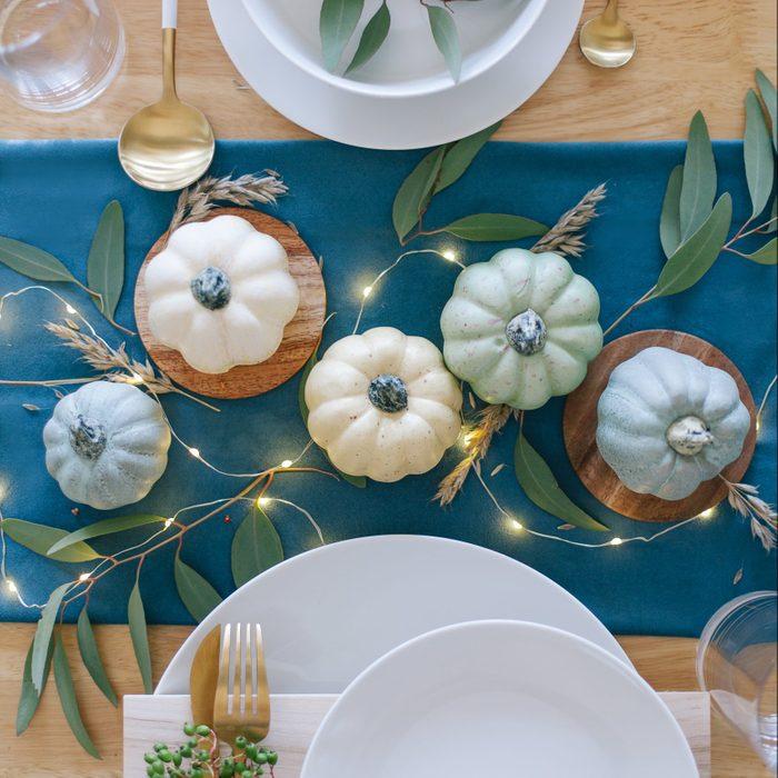 Teal and blue pumpkins Thanksgiving