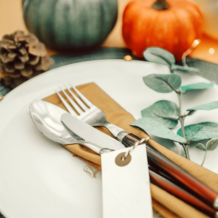 thanksgiving autumn table setting.Top view