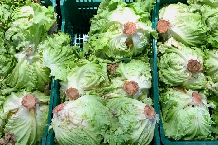 Rusty Lettuce at supermarket with reddish brown rust spots