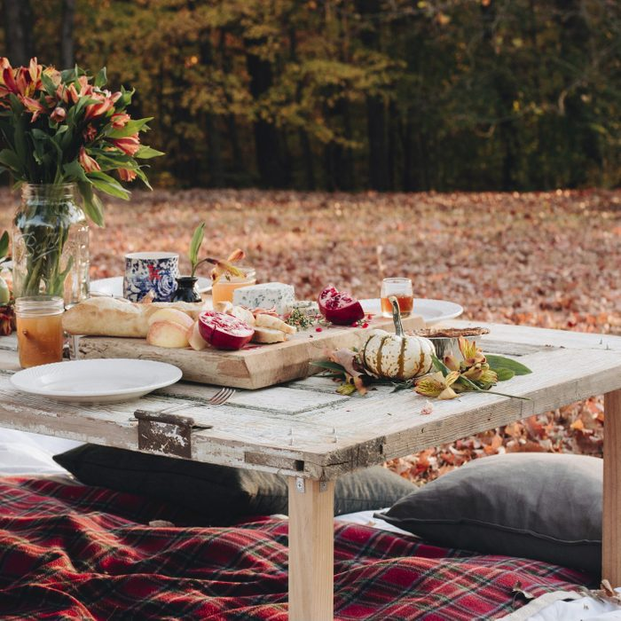 Food on table in field