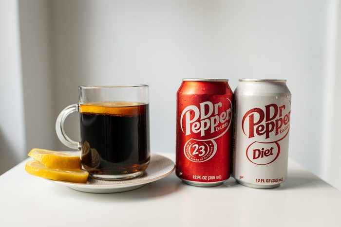 Hot Dr. Pepper with dr. pepper cans