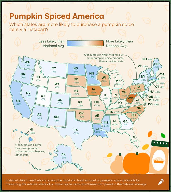 Map of pumpkin spice popularity in america