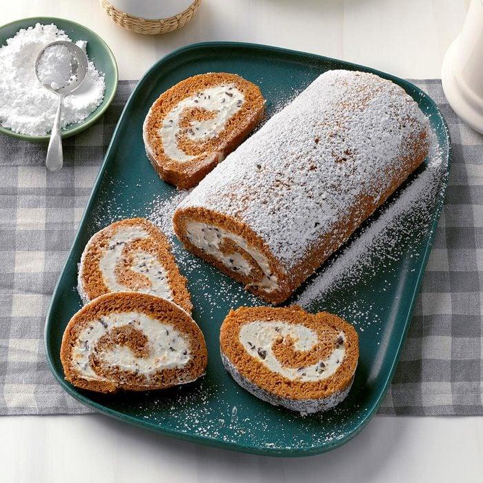 Pumpkin Cannoli Cake Roll