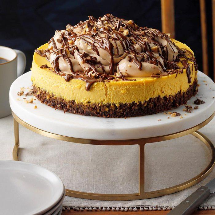 Pumpkin Cheesecake with Brownie Bottom