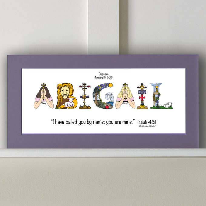 Baptism Gift Girl Baptism Gift Boy - 10x20 Matted Print *Frame Option* - Personalized Baptism Gifts from The Christian Alphabet™